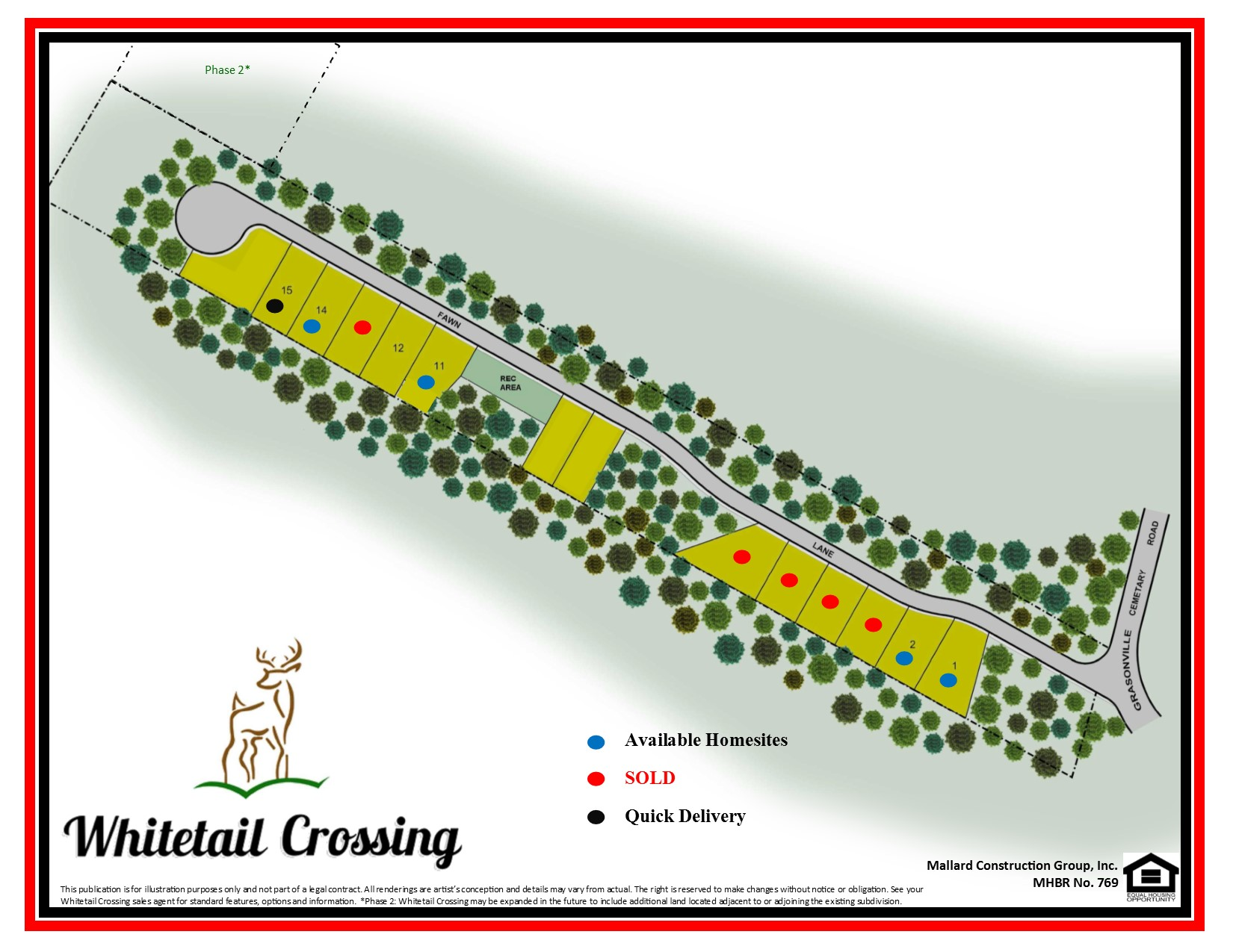 Whitetail Site Plan with Additional Lands with sold dots